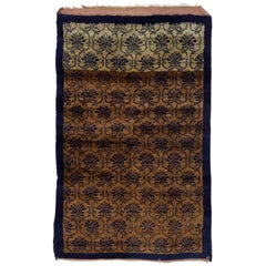 Vintage Hand Knotted One-of-a-Kind Turkish Tulu Wool Rug in Camel and Navy