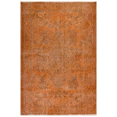 Vintage Hand Knotted Oriental Rug Overdyed in Burnt Orange Color