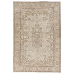 Vintage Hand Knotted Oushak Area Rug with Medallion Design