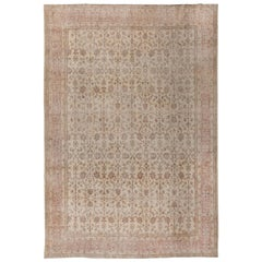 Vintage Hand Knotted Oushak Rug in Soft, Muted Colors