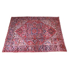 Vintage Hand Knotted Persian Heriz Rug, circa 1940s