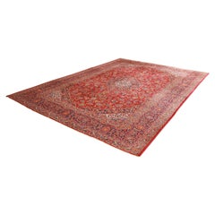 Vintage Hand Knotted Persian Kashan Area Rug