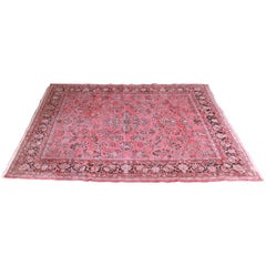 Vintage Hand Knotted Persian Sarouk Room Size Rug