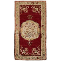 Vintage Hand Knotted Turkish Accent Rug in Red and Ivory