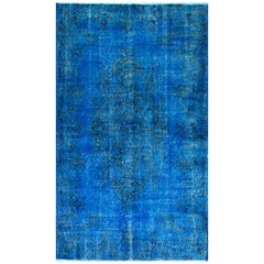 Vintage Hand-Knotted Turkish Area Rug Over-Dyed in Blue Color