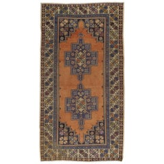 Vintage Hand Knotted Turkish Area Rug with Wool Pile