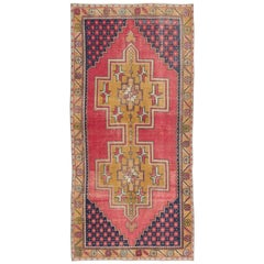 Vintage Hand Knotted Turkish Area Rug with Wool Pile in Red and Gold