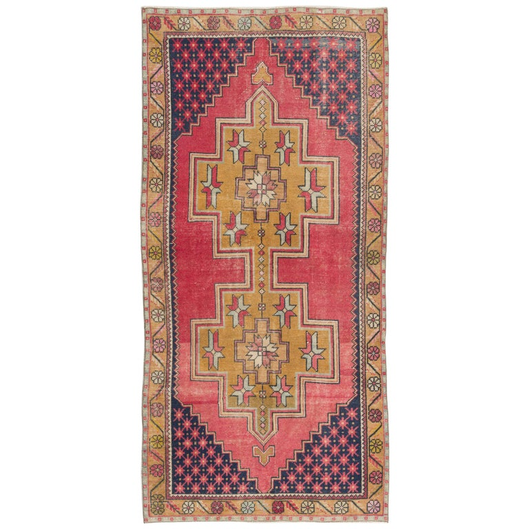 Vintage Hand Knotted Turkish Area Rug With Wool Pile In Red And Gold For Sale At 1stdibs