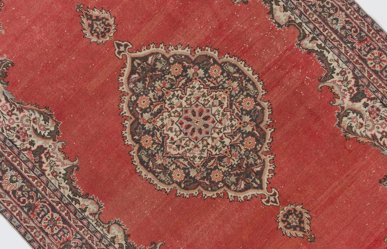 Hand-Knotted Vintage Hand Knotted Turkish Oushak Rug For Sale
