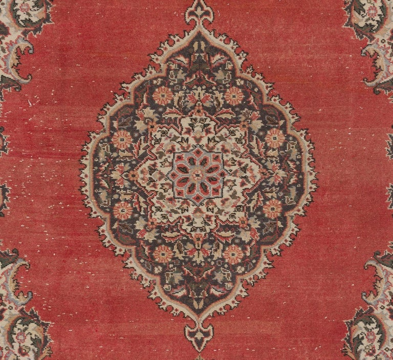 Mid-20th Century Vintage Hand Knotted Turkish Oushak Rug For Sale