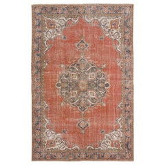 Vintage Hand Knotted Turkish Oushak Rug