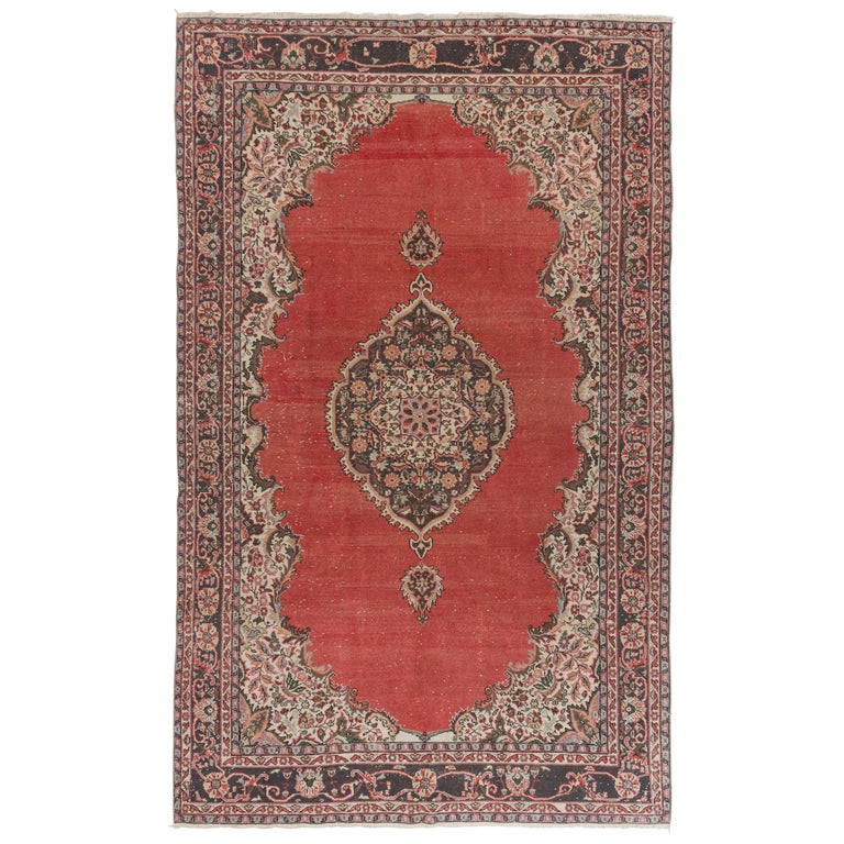 Vintage Hand Knotted Turkish Oushak Rug For Sale