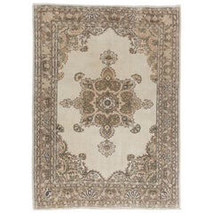 Vintage Hand Knotted Turkish Oushak Rug in Soft Earthy Colors