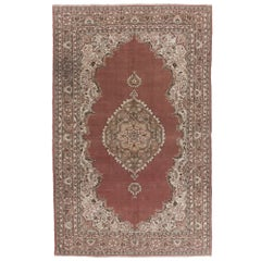 Vintage Hand Knotted Turkish Oushak Rug with Medallion Design