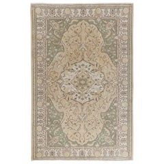 Vintage Hand-Knotted Oushak Area Rug. 6.4x10 Ft Ideal for Office & Home decor