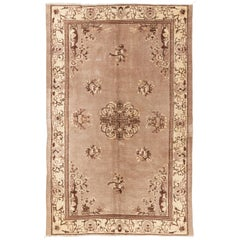 Art Deco Chinese Rug in Soft Feded Taupe, Brown and Beige Colors