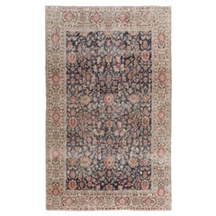 Vintage Hand Knotted Turkish Rug with Overall Floral Design