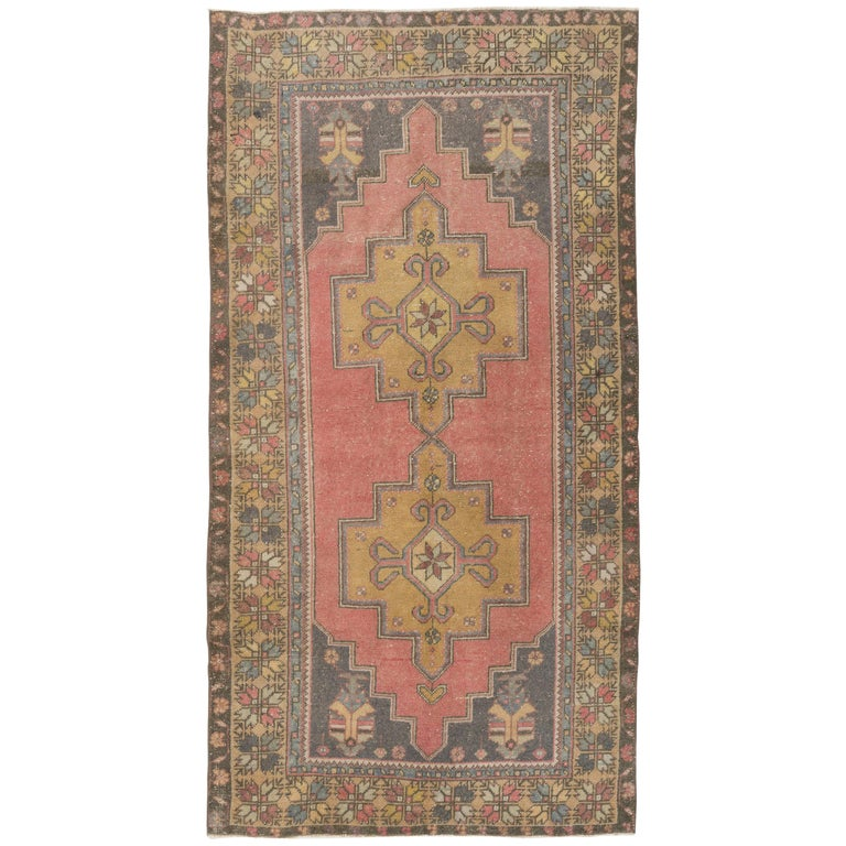 Vintage Hand Knotted Turkish Rug With Wool Pile In Red And Gold At 1stdibs
