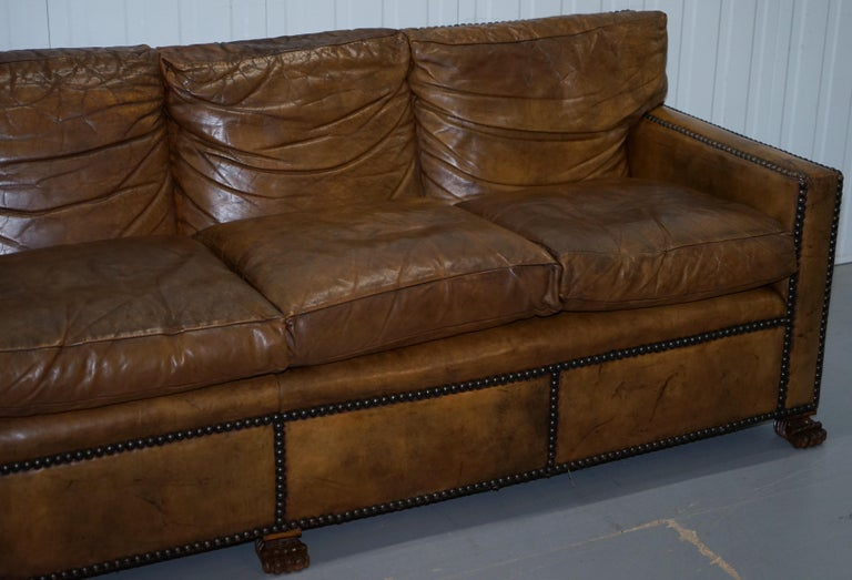 Vintage Handmade in Chelsea Brown Leather 4-Seat Sofa Lion Hairy Paw Feet