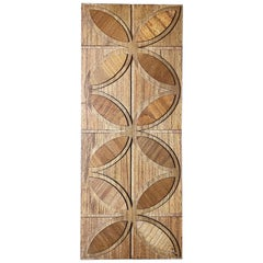 Vintage Hand Made Lotus Pattern Wood Relief, circa 1970s