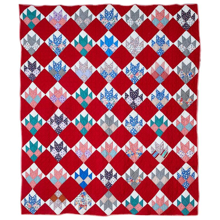 """Vintage Handmade Patchwork """"Bear Paw Four Patch"""" Quilt in Cotton, USA, 1930s"""