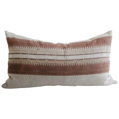 Vintage Handmade Tribal Block Linen King Size Lumbar Pillow