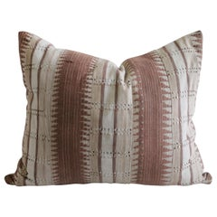 Vintage Handmade Tribal Block Linen Lumbar Pillow in Blush Mauve Tones