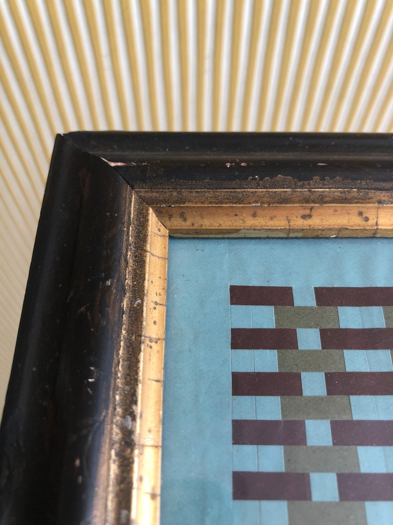 Vintage Handmade Woven Paper School Study in Frame, USA, Early 20th Century For Sale 4