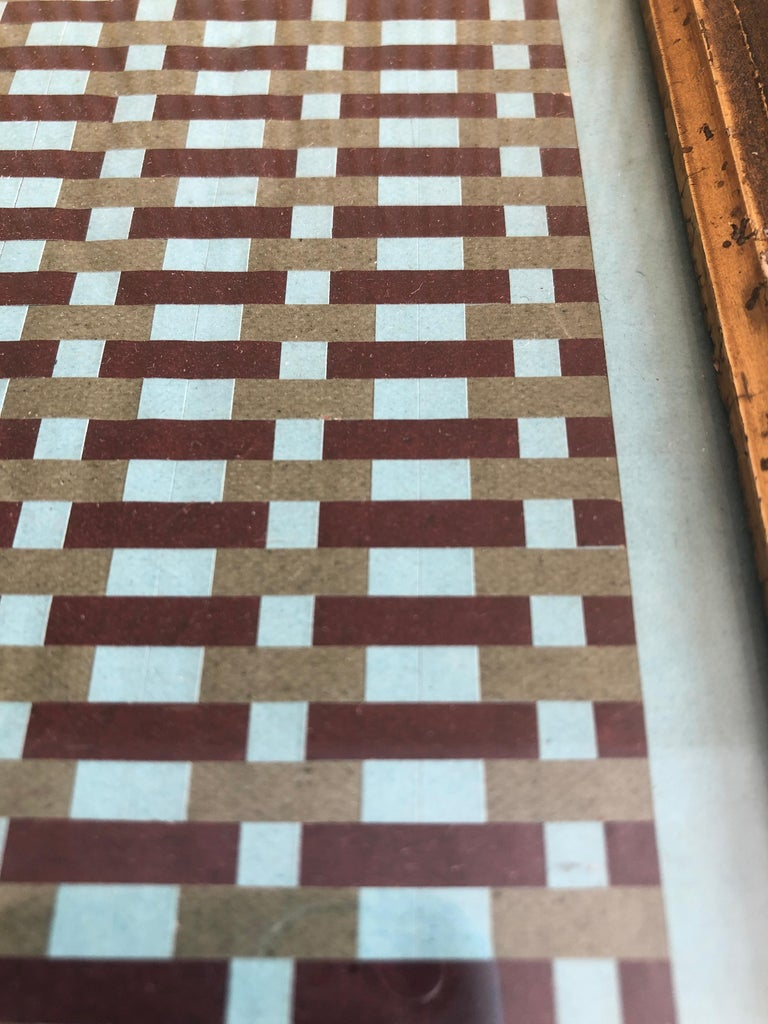 Vintage Handmade Woven Paper School Study in Frame, USA, Early 20th Century For Sale 5
