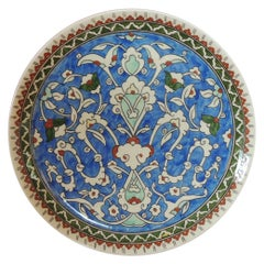 Vintage Hand Painted Blue Turkish Round Decorative Hanging Plate