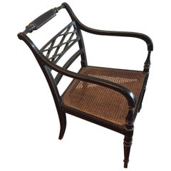 Vintage Hand Painted Caned Seat Armchair