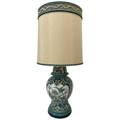 Vintage Hand Painted Ceramic Table Lamp with Original Shade by Marbro