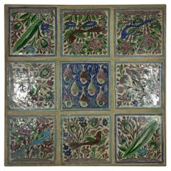 Vintage Hand Painted Ceramic Tiles Wall Hanging