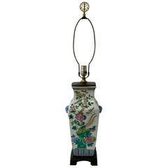 Vintage Hand Painted Chinese Porcelain Lamp, c.1970