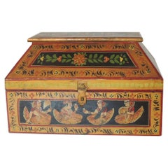 Vintage Hand Painted Colorful Indian Wooden Box with Lid