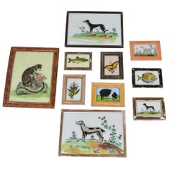 Vintage Hand Painted Indian Animal Pictures, 20th Century