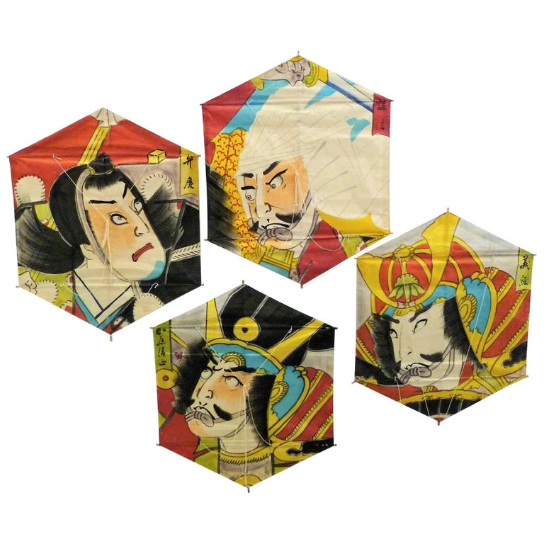 Vintage Hand Painted Japanese Kites Samurai Depictions 1970s For Sale