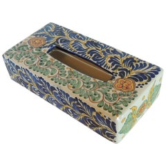 Vintage Hand Painted Mexican Ceramic Tissue Box Cover