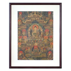 Vintage Hand-Painted Multi-Colored Tibetan Thangka Painting Depicting the Buddha