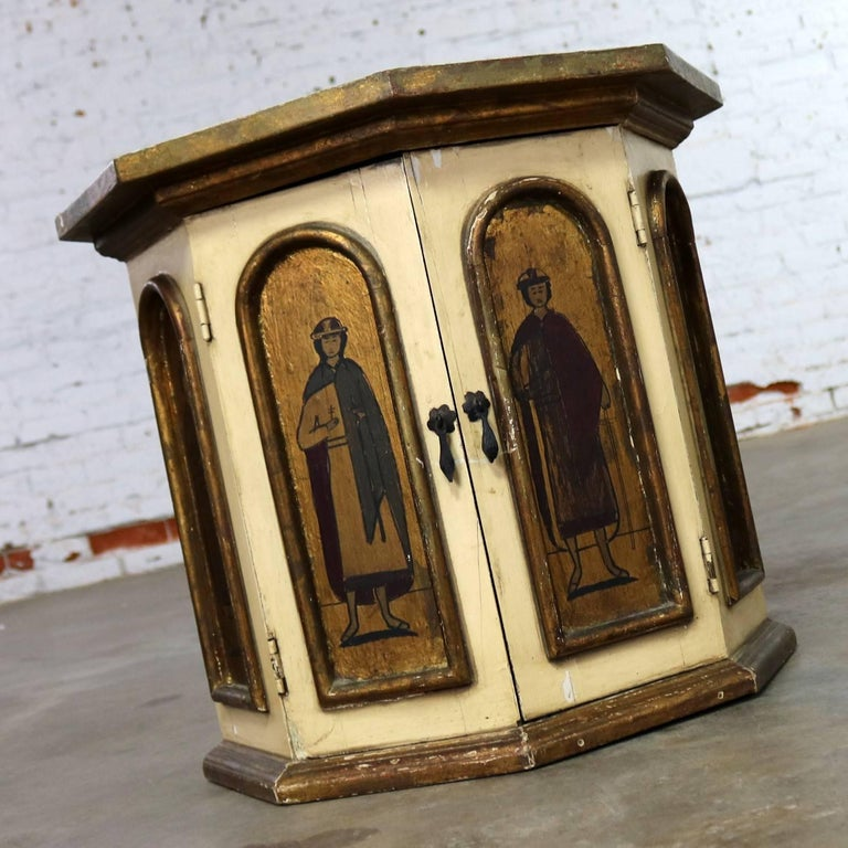 Mexican Vintage Hand-Painted Octagon Drum Side Table Cabinet Attributed Arte De Mexico For Sale