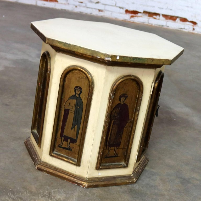 Vintage Hand-Painted Octagon Drum Side Table Cabinet Attributed Arte De Mexico In Good Condition For Sale In Topeka, KS