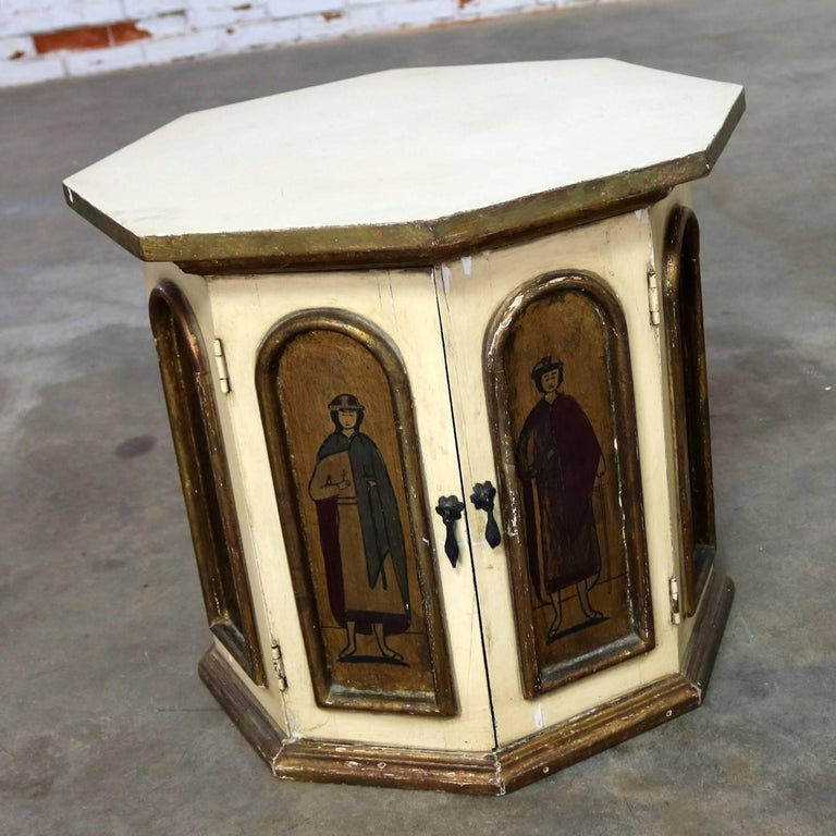 Wood Vintage Hand-Painted Octagon Drum Side Table Cabinet Attributed Arte De Mexico For Sale
