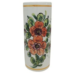 Vintage Hand Painted Orange and Green Ceramic Umbrella Stand