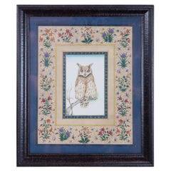 Vintage Hand Painted Owl Surrounded by Flowers, Framed