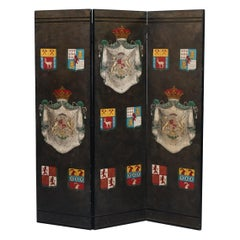 Vintage Hand Painted Room Divider Folding Screen Armorial Crest Coat of Arms