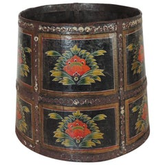 Vintage Hand Painted Round Indian Planter