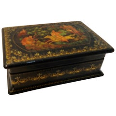 Vintage Hand Painted Russian Lacquer Box with Fairies