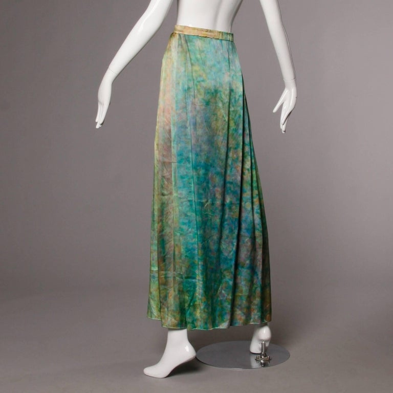 Gray Vintage Hand Painted Tie Dye Silk Long Ombre Maxi Skirt For Sale