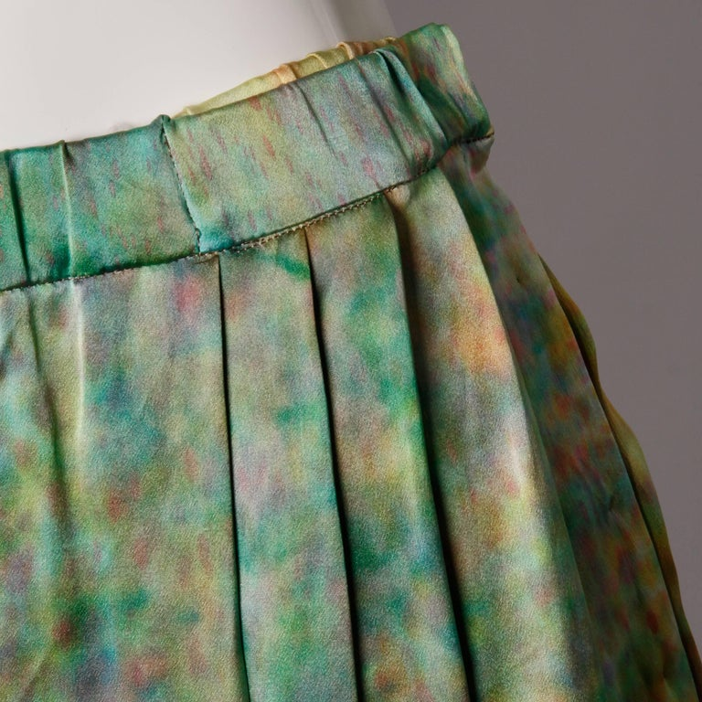 Vintage Hand Painted Tie Dye Silk Long Ombre Maxi Skirt In Excellent Condition For Sale In Sparks, NV