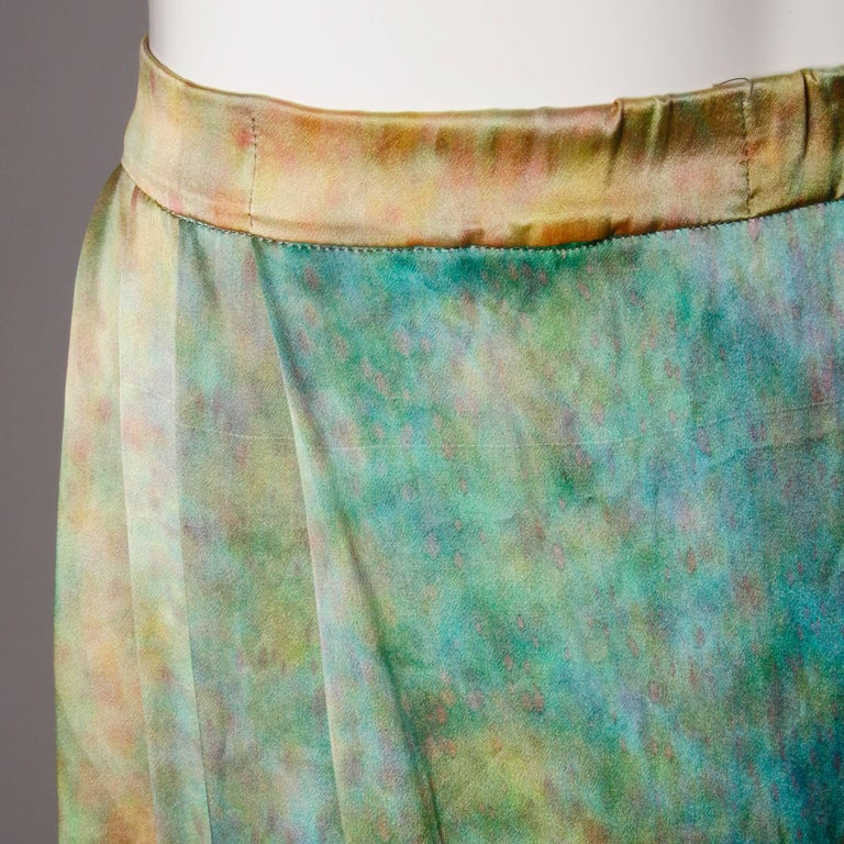 Women's Vintage Hand Painted Tie Dye Silk Long Ombre Maxi Skirt For Sale